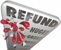 Declaración de impuestos del efectivo del reembolso del dinero de la medida del termómetro del reembolso Imágenes de archivo libres de regalías