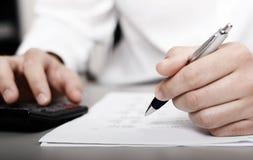 Declaración de impuestos financiera imagen de archivo