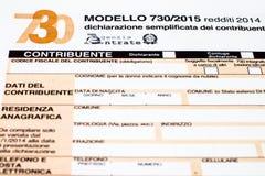Declaración de impuestos italiana llamada 730 Fotografía de archivo