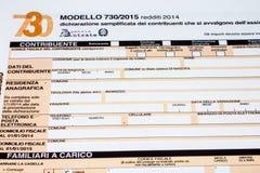 Declaración de impuestos italiana llamada 730 Fotos de archivo libres de regalías