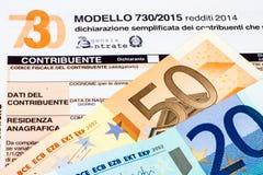 Declaración de impuestos italiana llamada 730 Imagenes de archivo