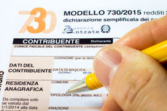 Declaración de impuestos italiana llamada 730 Fotos de archivo