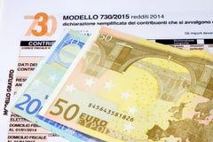Declaración de impuestos italiana llamada 730 Imágenes de archivo libres de regalías