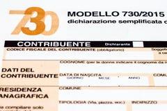 Declaración de impuestos italiana llamada 730 Imagen de archivo