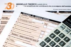 Declaración de impuestos italiana llamada 730 Imagen de archivo libre de regalías