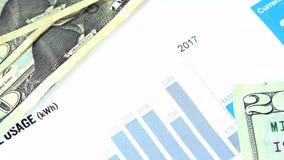 Declaración de la cuenta eléctrica - costo de la energía y concepto de las finanzas almacen de metraje de vídeo