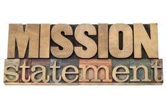 Declaración de misión en el tipo de madera Foto de archivo