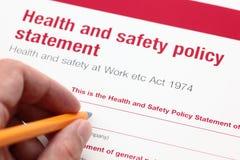 Declaración de política de salud y de la seguridad foto de archivo libre de regalías
