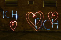 Declaración del amor con la luz Foto de archivo libre de regalías