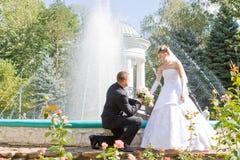 Declaración del amor en parque Fotos de archivo libres de regalías