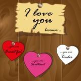 Declaración original del amor para el día de tarjeta del día de San Valentín Imagen de archivo libre de regalías
