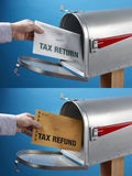 Declaración y reembolso de impuestos Fotos de archivo