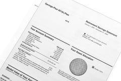 Declaración de los ahorros del retiro Imágenes de archivo libres de regalías