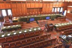 Declaración judicial internacional gran pasillo de justicia Foto de archivo libre de regalías