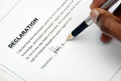Declaration. This is image of signing contract form Stock Images