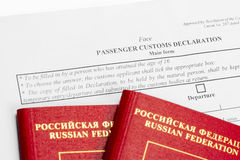 Declaration form and two passport Royalty Free Stock Photos