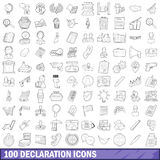 100 declaration icons set, outline style. 100 declaration icons set in outline style for any design vector illustration Stock Image