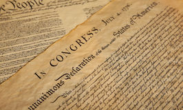 Declaration of independence. United States Declaration of Independence Stock Photo