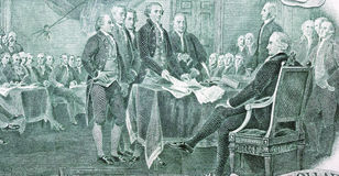 Declaration of Independence. From the two dollar bill stock image
