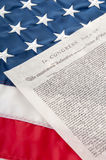 Declaration of Independence. On flag Stock Photography
