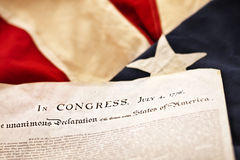 The Declaration of Independence. Of the United States of America. Selective Focus photo Royalty Free Stock Photos