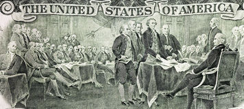 Declaration of independence. View of Declaration of independence painting from the two dollar bill Stock Photo