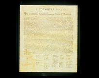 Declaration of Independence. This shows the original Declaration of Independence in its entirety written on its now faded parchment paper Stock Image