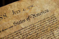 Declaration of Independence. The Declaration of Independence of the United States of America Stock Photos