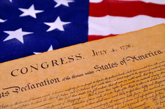 Declaration of Independence. With United States flag background Royalty Free Stock Images