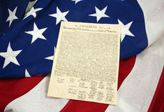 Declaration of Independence on American Flag, Horizontal Stock Photo