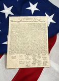 Declaration of Independence on American Flag, Vertical Royalty Free Stock Image
