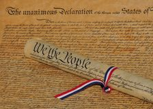 Declaration of Independence and Constitution Royalty Free Stock Photo