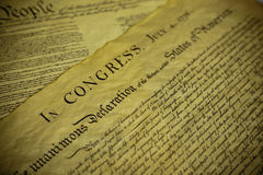 The Declaration of Independence and Constitution of the USA Stock Photography