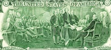 Declaration of independence drawing from the two dollar. Banknote Stock Images