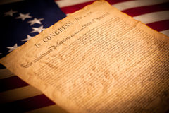 Declaration of Independence on flag background. United States Declaration of Independence on a Betsy Ross flag background Stock Image