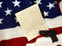 Declaration of Independence with Hand Gun, Horizontal Royalty Free Stock Photos