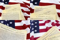 American flag declaration document collage. Declaration of Independence historical document constitution  united states on American USA flag display decoration Royalty Free Stock Photo