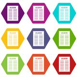 Declaration of independence icon set color hexahedron. Declaration of independence icon set many color hexahedron isolated on white vector illustration Royalty Free Stock Image
