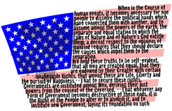 Declaration of Independence on American flag Stock Photos