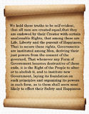 Declaration of Independence. A piece of the Declaration of Independence Royalty Free Stock Images