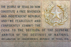 Declaration of Independence Republic of Texas 1836 Royalty Free Stock Image