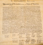 Declaration of independence 4th july 1776 close up Royalty Free Stock Photography