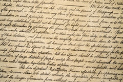 Declaration of independence 4th july 1776 close up Royalty Free Stock Photos