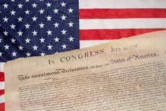 Declaration of independence 4th july 1776 on usa flag. American Declaration of independence 4th july 1776 on usa flag background stock photography