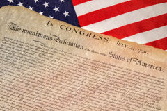 Declaration of independence 4th july 1776 on usa flag. American Declaration of independence 4th july 1776 on usa flag background royalty free stock photos
