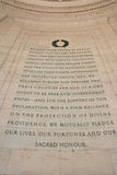 Declaration of Independence at the Thomas Jefferson Memoral Royalty Free Stock Photo