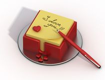 Declaration of love. On a yellow sheet Royalty Free Stock Images