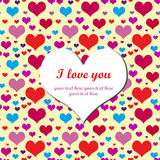 Declaration of love. Valentine card with color hearts and big heart shape in the middle. Hearts seamless pattern Stock Photography