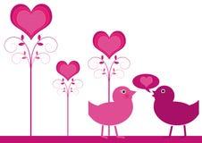 Declaration Of Love. Romantic couple of birds. Vector illustration royalty free illustration