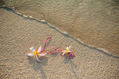 Declaration of love. On the beach in Maldives royalty free stock image